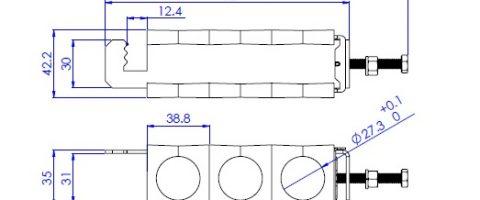 ابعاد بست سه راهه تسمه گیر ثابت 8/7 اینچ
