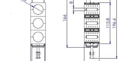ابعاد بست سه راهه لوله گیر ثابت 8/7 اینچ